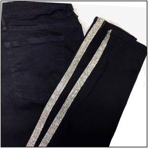 Good American Good Legs Glitz Black Tuxedo Jeans 4